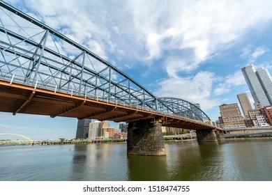 Smithfield Street Bridge from the River Below in Pittsburgh, Pennsylvania