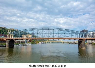 Smithfield Street Bridge Spanning the Monongahela River in Pittsburgh, Pennsylvania