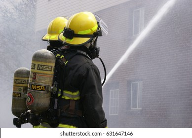 SMITHS FALLS, ON, CANADA, APRIL 28, 2017 - One of several editorial images recorded at the scene of an apartment building fire in this small town.
