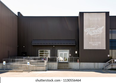 Smiths Falls, ON, Canada - July 8, 2018: Canopy Growth Corporation, formerly Tweed Marijuana Inc in the former Hershey's chocolate factory which they bought and expanded after Hershey's left the town