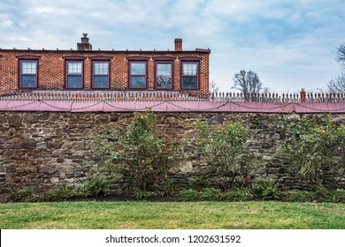 SMITHVILLE, NEW JERSEY - NOVEMBER 16 - The garden wall behind Smithville mansion on November 16 2016 in historic Smithville Village in Burlington County NJ.
