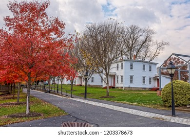 SMITHVILLE, NEW JERSEY - NOVEMBER 16 - A scenic Autumn view of historic homes along Park Avenue on November 16 2016 in historic Smithville NJ