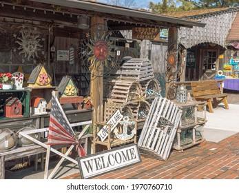 Smithville, NJ - February 6, 2021: Smithville Shops on a winter day