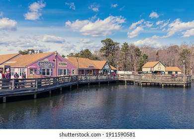 Smithville, NJ USA - February 6 2021: Small shops in Smithville on a winter day