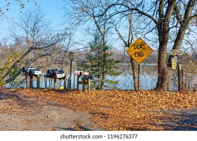 SMITHVILLE VILLAGE, NEW JERSEY-NOVEMBER 16: A collection of rural mailboxes between parkland and private property on a Fall day on November 16 2016 in Smithville Village in New Jersey.