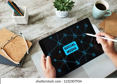 SMM, Social media marketing, communication concept on device screen.