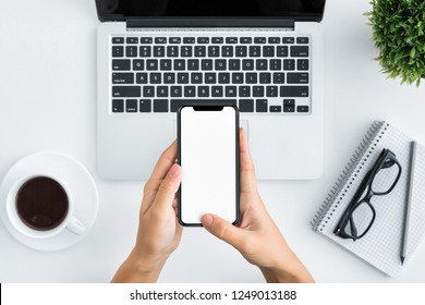 SMM, Social media marketing concept. Hands using smartphone with blank screen, copy space