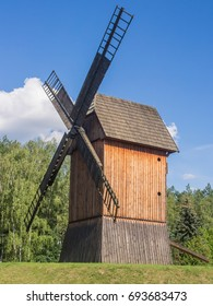 Smock mill is a type of windmill that consists of a sloping, horizontally weatherboarded or thatched tower, usually with six or eight sides.