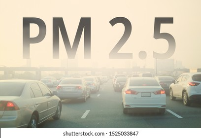 Smog city from PM 2.5 dust. Cityscape with bad air pollution, PM 2.5 concept, Bangkok, Thailand