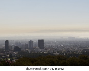 Smog and fog in Los Angeles County, California.