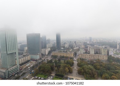 Smog or fog in Warsaw city, Poland