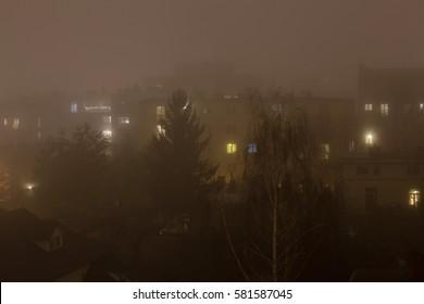 Smog at night, Warsaw, Poland