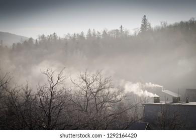 Smog over mountain landscape