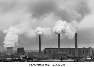 smog and pollution concept and global warming concept, coal fired power station power plant in black and white