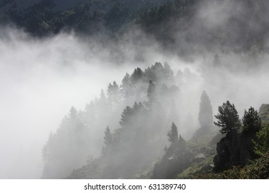 Smog in Pyrenees, Ariege,  Occitanie in south of France