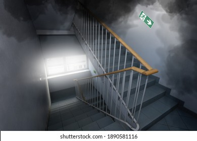 smog and smoke in the office building - emergency exit
