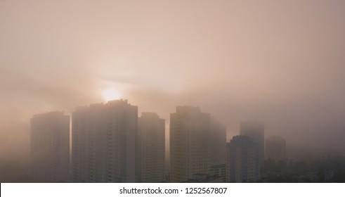 smog at the urban city