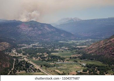Smoke from the 416 Forest Fire north of Durango, Colorado