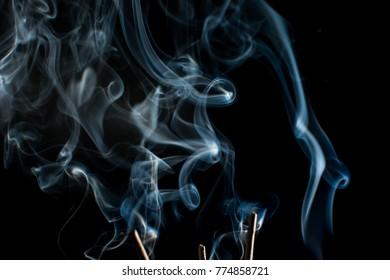 Smoke in black background