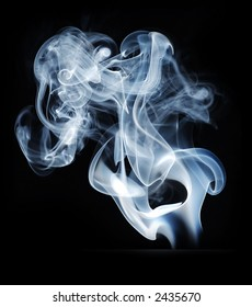 smoke blue with twists and turns isolated on black
