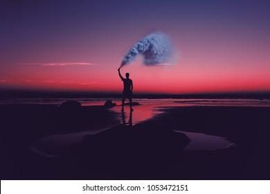Smoke bomb at night time