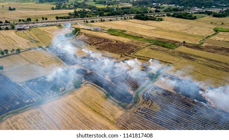 Smoke from burning rice stubble on top view, air pollution and global warming concept