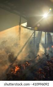 Smoke of burnt bamboo sticky rice