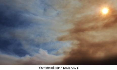 The Smoke from the california wildfires filled up the air, making the half of the oxnard sky look dark and red while the other half looked nice and blue.