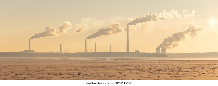 Smoke from chimneys of a metallurgical plant. Air pollution