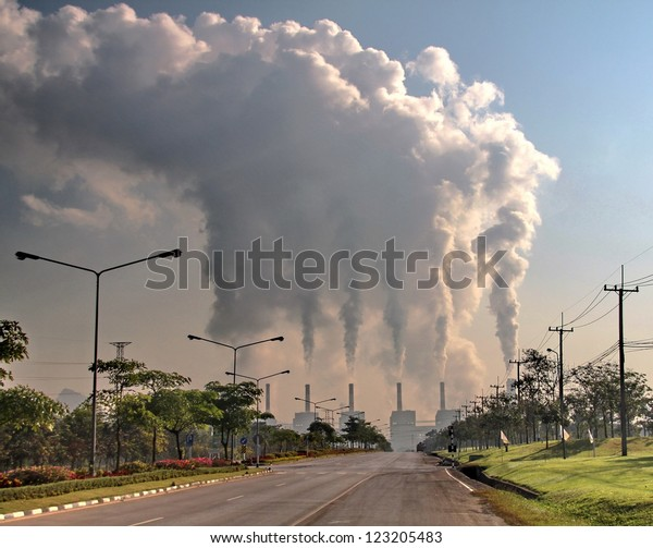 smoke from coal power plant, Industry pollution