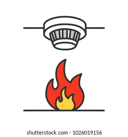 Smoke detector color icon. Fire alarm system. Isolated raster illustration