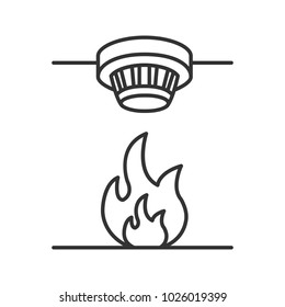 Smoke detector linear icon. Fire alarm system. Thin line illustration. Contour symbol. Raster isolated outline drawing