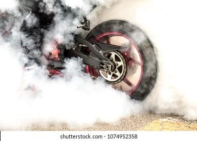 Smoke drifting motorbike