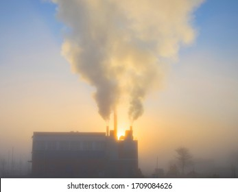 Smoke in early morning releasing pollution