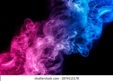 Smoke Effect red and blue  on dark wall for background Party happy new year happiness concept