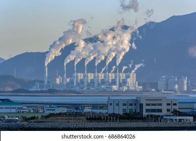 Smoke emitting from smoke stacks of Gwangyang Steel Works, Gwangyang, Jeonnam, Korea