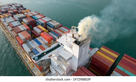 Smoke exhaust gas emissions from cargo lagre ship ,Marine diesel enginse exhaust gas from combustion.