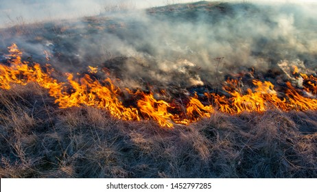 smoke and fire, burning dry grass on the hillside. Villager they set fire to dry grass so that young grass would grow to feed animals. Early spring in the countryside.