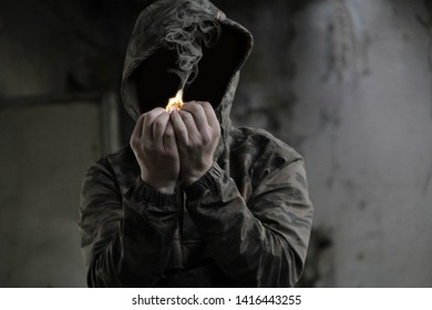 smoke from fire in man's hands and Fire Man