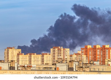 Smoke from the fire over the city.