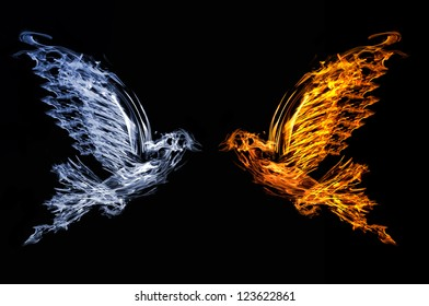 smoke and flame flying doves isolated on black background