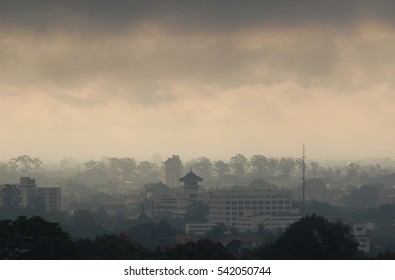 Smoke from forest fire cover on a city, crisis air pollution dangerous for population