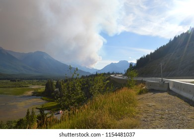 Smoke from forest wildfire in the distance - Banff, Alberta, Canada