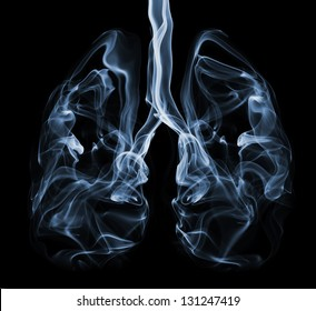 Smoke formation shaped as human lungs. Illustration of smokers lungs which could be used in non-smoking campaigns or lung cancer campaigns.