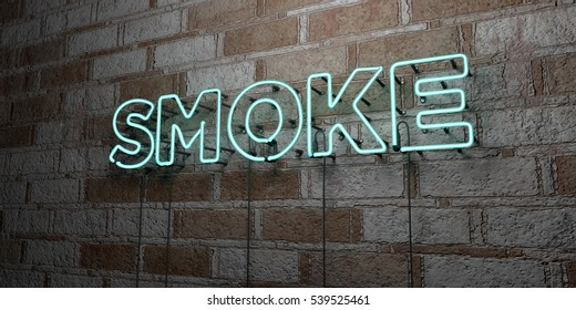SMOKE - Glowing Neon Sign on stonework wall - 3D rendered royalty free stock illustration.  Can be used for online banner ads and direct mailers.
