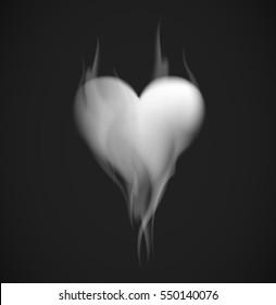Smoke heart shape. Smoke in heart silhouette on black background.