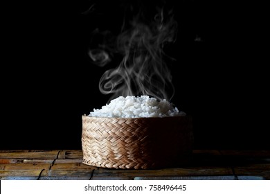 Smoke and hot cooked rice
