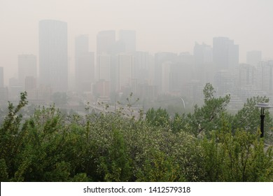 Smoke from the Northern forest fires in Calgary, Alberta.