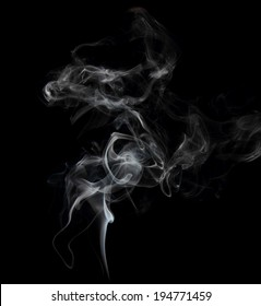 Smoke on black background close up