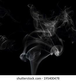 Smoke on black background close up